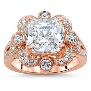Noori 14k Rose Gold 5/8ct TDW Diamond and Cushion-cut Moissanite Engagement Ring (F-G, SI1-SI2) - Pink