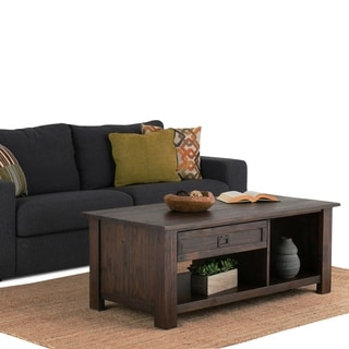 WYNDENHALL Garret Solid Acacia Wood 48 inch Wide Rectangle Rustic Rectangular Coffee Table in Distressed Charcoal Brown