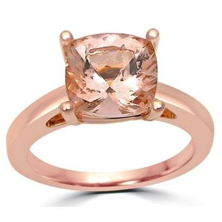 Noori 14k Rose Gold 2ct TGW Cushion-cut Morganite Solitaire Engagement Ring