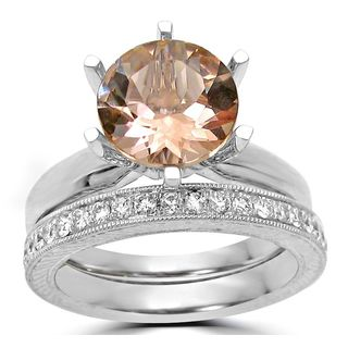 Noori 14k White Gold 1/4ct TDW Diamond and Round Morganite Engagement Ring Set (F-G, SI1-SI2)