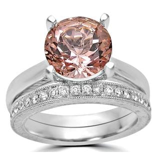 Noori 14k White Gold 2 1/2ct TGW Round Morganite and Diamond Engagement Ring Set (F-G, SI1-SI2)