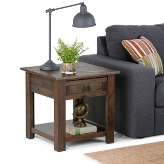 WYNDENHALL Garret Solid Acacia Wood 22 inch Wide Square Rustic End Side Table in Distressed Charcoal Brown