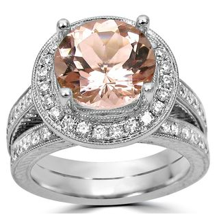Noori 14k White Gold 3/4ct TDW Diamond and Round Morganite Engagement Ring (F-G, SI1-SI2)
