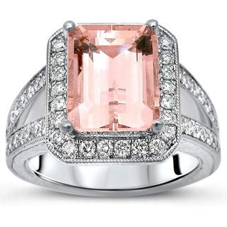 Noori 14k White Gold 3/4ct TDW Diamond and Emerald Morganite Engagement Ring (F-G, SI1-SI2)