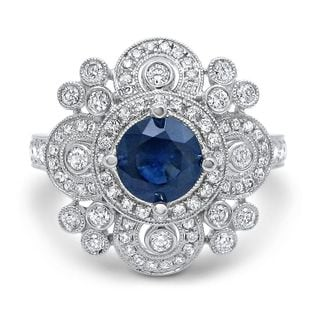 Noori 14k White Gold 5/8ct TDW Diamond and Blue Sapphire Engagement Ring (G-H, SI1-SI2)