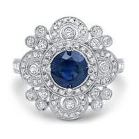 Noori 14k White Gold 5/8ct TDW Diamond and Blue Sapphire Engagement Ring (G-H, SI1-SI2) - N/A
