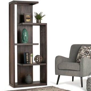 "WYNDENHALL Garret Solid Acacia Wood 72 inch x 30 inch Rustic Bookcase in Distressed Charcoal Brown - 30""w x 15.75""d x 72"" h"