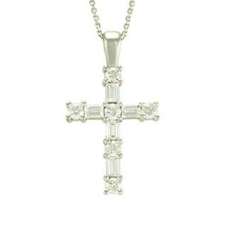 14k White Gold 1/3ct TDW Diamond Sharp Prong Cross Pendant (H-I, SI1-SI2)