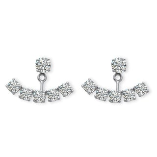 PalmBeach 3.50 TCW Round Cubic Zirconia Adjustable Ear Jacket Stud Earrings in Platinum over Sterling Silver Bold Fashion