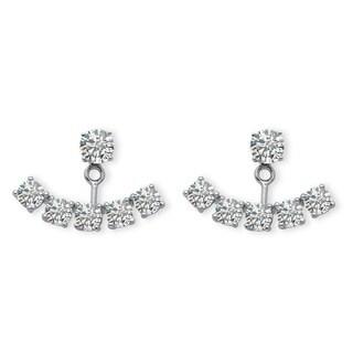 3.50 TCW Round Cubic Zirconia Adjustable Ear Jacket Stud Earrings in Platinum over Sterlin