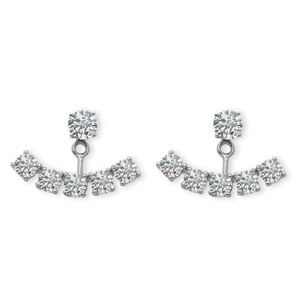 3 50 Tcw Round Cubic Zirconia Adjule Ear Jacket Stud Earrings In Platinum Over Sterlin