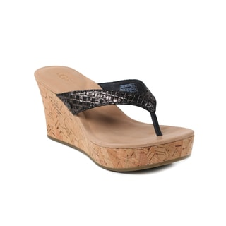 UGG Australia  Women's Black Natassia Metalic Basket Wedge Sandals