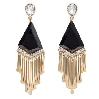 PalmBeach Pear-Cut White Crystal and Simulated Black Onyx Art Deco-Inspired Chandelier Fringe Earrings in Gold Bold Fashion