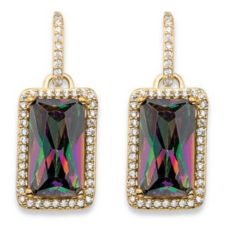 32.80 TCW Emerald-Cut Mystic Cubic Zirconia Halo Drop Earrings 14k Gold-Plated with White
