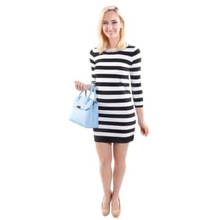 Hadari Women's Round Pearl Neckline  3/4 Sleeve Stripped Fashion Dress (One Size)