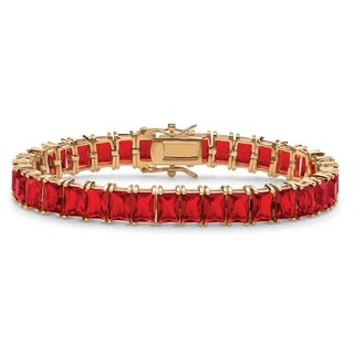"Emerald-Cut Simulated Ruby 14k Gold-Plated Tennis Bracelet 7 1/4"" Color Fun"