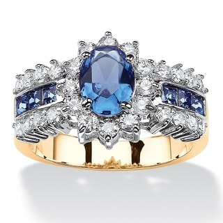 PalmBeach .82 TCW Oval-Cut Sapphire Blue Crystal and White Cubic Zirconia Two-Tone Halo Ring MADE WITH SWAROVS Color Fun