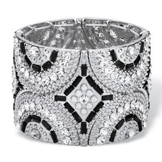 Black and Grey Simulated Crystal and Pearl Geometric Art Deco-Style Beaded Stretch Bangle|https://ak1.ostkcdn.com/images/products/11711276/P18633339.jpg?impolicy=medium