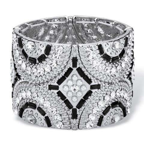 Black and Grey Simulated Crystal and Pearl Geometric Art Deco-Style Beaded Stretch Bangle