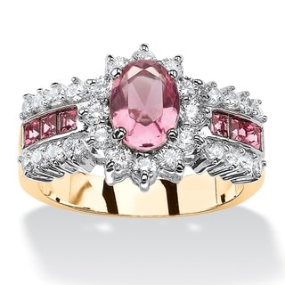 PalmBeach .82 TCW Oval Pink Crystal Two-Tone Halo Cocktail Ring MADE WITH SWAROVSKI ELEMENTS 14k Gold-Plated Color Fun