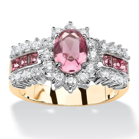 .82 TCW Oval Pink Crystal Two-Tone Halo Cocktail Ring MADE WITH SWAROVSKI ELEMENTS 14k Gol