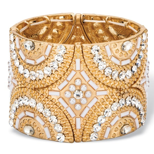 White and Gold Crystal and Simulated Pearl Geometric Art Deco-Style Beaded Stretch Bangle