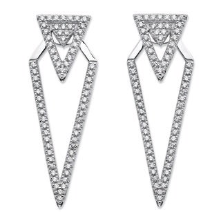 PalmBeach .65 TCW Micro-Pave Cubic Zirconia 2-in-1 Triangle Ear Jacket Drop Earrings in Sterling Silver Bold Fashion