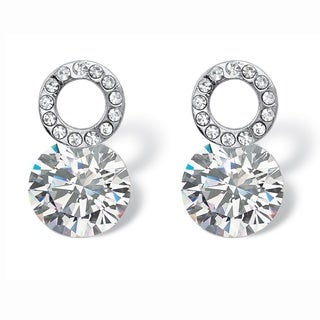 PalmBeach 4 TCW Round Cubic Zirconia and Crystal Circle and Stud Drop Earrings in Sterling Silver Bold Fashion