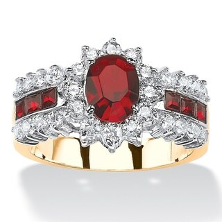 .82 TCW Oval-Cut Garnet Red Crystal and White Cubic Zirconia Two-Tone Halo Ring MADE WITH