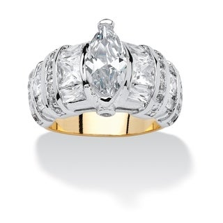 4.09 TCW Marquise-Cut and Multi-Cut Cubic Zirconia 14k Gold-Plated Ring Classic CZ