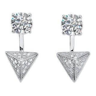 PalmBeach 2.40 TCW Pave Cubic Zirconia Pyramid 2-in-1 Ear Jacket Earrings in Sterling Silver Bold Fashion