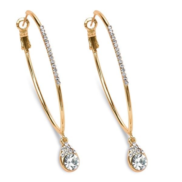 "White Crystal Hoop Teardrop Earrings in Gold Tone (1.5"") Color Fun"