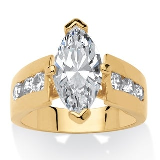 3.02 TCW Marquise-Cut Cubic Zirconia 14k Yellow Gold-Plated Ring Classic CZ