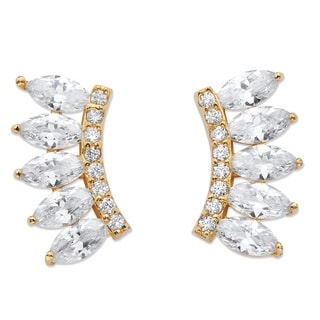 PalmBeach 2.74 TCW Marquise-Cut Cubic Zirconia Ear Climber Earrings in 14k Gold over Sterling Silver Bold Fashion