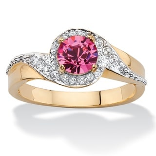 Round Pink and White Pave Crystal Two-Tone Halo Cocktail Ring 14k Gold-Plated Color Fun