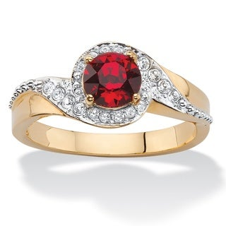Round Simulated Red Ruby and White Pave Crystal Two-Tone Halo Cocktail Ring 14k Gold-Plate