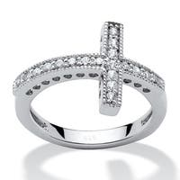 .30 TCW Cubic Zirconia Horizontal Cross Ring in Sterling Silver Bold Fashion