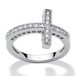 Sterling Silver Cubic Zirconia Horizontal Cross Ring - White