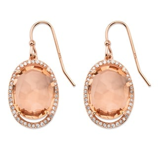 PalmBeach .42 TCW Oval Simulated Pink Morganite and Cubic Zirconia Halo Earrings in Rose Gold over Silver Color Fun