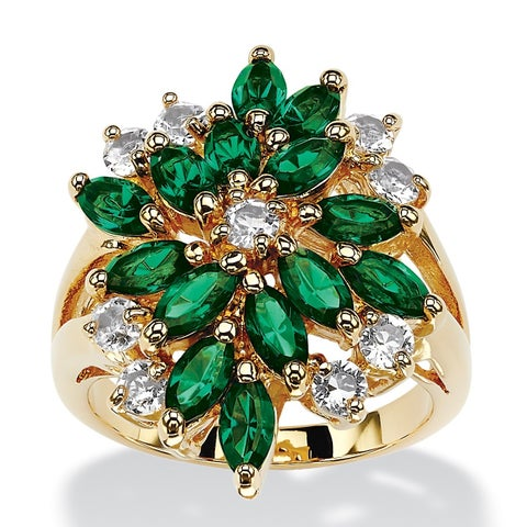Marquise-Cut Simulated Emerald Green Crystal Cluster Cocktail Ring 18k Gold-Plated Color F
