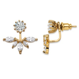 PalmBeach 4.36 TCW Marquise-Cut Cubic Zirconia 14k Gold over Sterling Silver 2-in-1 Jacket Earrings Bold Fashion