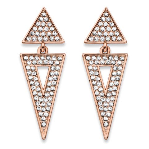 """Round Crystal Double Triangle Cluster Drop Earrings Rose Gold-Plated 1.75"""" Bold Fashion"""