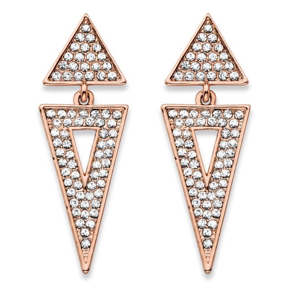 "Round Crystal Double Triangle Cluster Drop Earrings Rose Gold-Plated 1.75"" Bold Fashion"