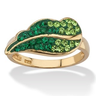 Pave Evergreen Crystal Leaf Ring MADE WITH SWAROVSKI ELEMENTS in 14k Gold over Sterling Si