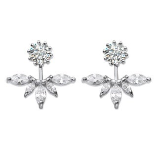 PalmBeach 4.36 TCW Marquise-Cut Cubic Zirconia 2-in-1 Jacket Earrings in Sterling Silver Bold Fashion