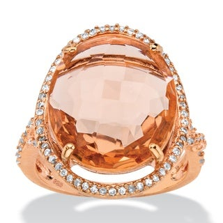 PalmBeach .39 TCW Oval Simulated Pink Morganite and Cubic Zirconia Halo Ring in Rose Gold over Silver Color Fun