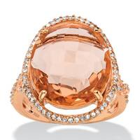 .39 TCW Oval Simulated Pink Morganite and Cubic Zirconia Halo Ring in Rose Gold over Silve