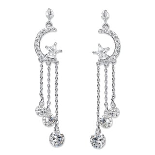 Crystal Moon and Stars Tassel Drop Earrings with Chain Accents and Crystal Droplets in Sil