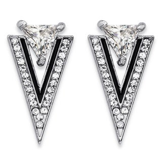Trilliant-Cut and Round Crystal Double Triangle Art Deco-Style Drop Earrings in Silvertone