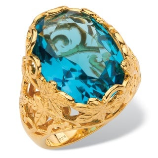 Oval-Cut Simulated Blue Topaz Faceted Cocktail Ring with Scrolling Leaf Detailing in 18k G